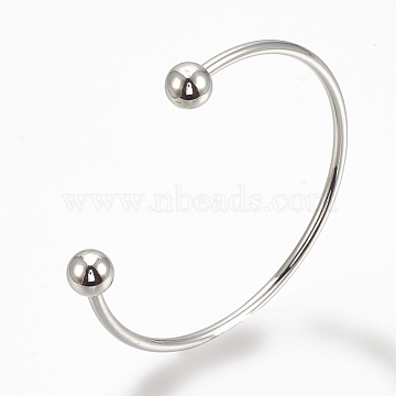 Brass Cuff Bangles Making, Torque Bangles, End with Removable Round Beads, Platinum, 2-1/8 inches(53~55mm)(X-BJEW-Q693-02)