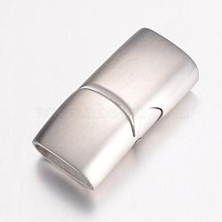 Магнитные застежки, нержавеющая сталь 304, прямоугольные, матовые, цвет нержавеющей стали, 24x12x7.5 мм, отверстие : 5x10 мм