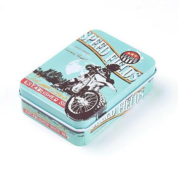 Mini Cute Tinplate Storage Box, Jewelry Box, Candy Box, Rectangle, Turquoise, 9.5x6.9x2.6cm(CON-WH0061-A02)