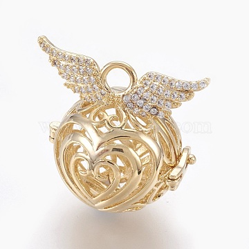 Brass Micro Pave Cubic Zirconia Prayer Box Pendants, Round with Wing, Clear, Golden, 29.5x30x21mm, Hole: 4mm; Inner Diameter: 17.5mm(KK-O112-11G)