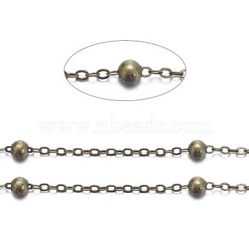 Brass Flat Oval Cable Chains, Satellite Chains, Unwelded, with Card Paper, Lead Free and Nickel Free, Antique Bronze, 2.2x1.7x0.23mm, Bead: 3.5mm(X-CHC018Y-AB)