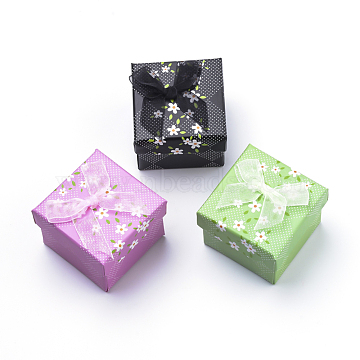 Cardboard Ring Boxes, with Yarn Bowknot and Sponge Inside, for Rings, Square, Mixed Color, 5~5.1x5~5.1x3.9cm; Inner Size: 4.3x4.6cm(CBOX-S018-03)