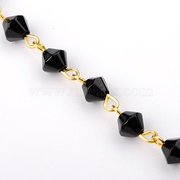 Handmade Bicone Glass Beads Chains for Necklaces Bracelets Making, with Golden Iron Eye Pin, Unwelded, Black, 39.3 inches; Beads: 6mm(AJEW-JB00039-05)