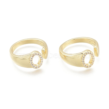 Brass Micro Pave Clear Cubic Zirconia Cuff Rings, Open Rings, Letter, Letter.O, Size 5, Inner Diameter: 16mm; O: 9x7mm(RJEW-F103-13O-G)