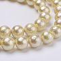 Wrinkle Textured Shell Pearl Beads Strands, Round, Wheat, 12mm, Hole: 1mm, about 34pcs/strand, 15.6 inches(39.5cm)