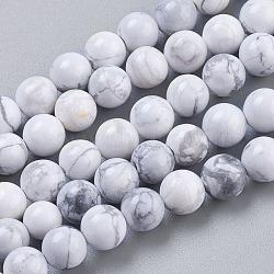 howlite naturelles brins de perles, arrondir, blanc, 6 mm, trou: 1 mm, environ 32 pcs / brin, 7.6(TURQ-G091-6mm)