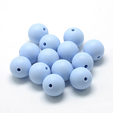 Food Grade Environmental Silicone Beads, Chewing Beads For Teethers, DIY Nursing Necklaces Making, Round, LightSteelBlue, 14~15mm, Hole: 2mm(X-SIL-R008C-57)