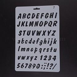 Modèles de pochoirs de peinture de dessin en plastique, rectangle, motif alphabet et chiffres, blanc, 25.5x17.4x0.04 cm(DIY-F018-B07)