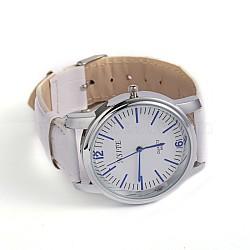 Men's PU Leather Quartz WristWatches, with Platinum Tone Alloy Watch Head, White, 240x18~19mm; Watch Head: 47x42mm(X-WACH-O007-01A)
