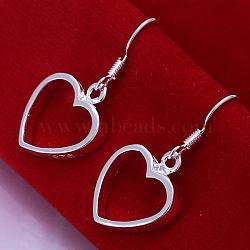 Laiton coeur pendentif boucles d'oreilles de haute qualité, argenterie, 30x14.5mm(EJEW-BB11888)