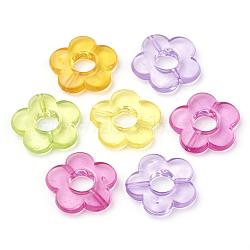 Cadres de perles acryliques transparentes, fleur, couleur mixte, 18x19x4mm, trou: 1.2 mm; diamètre intérieur: 6 mm; environ 690 pcs / 500 g(X-MACR-S296-32)