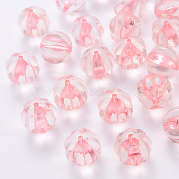 Transparent Acrylic Beads, Pumpkin, Pink, 17.5x16mm, Hole: 2mm, about 183pcs/500g(TACR-S154-19A-26)