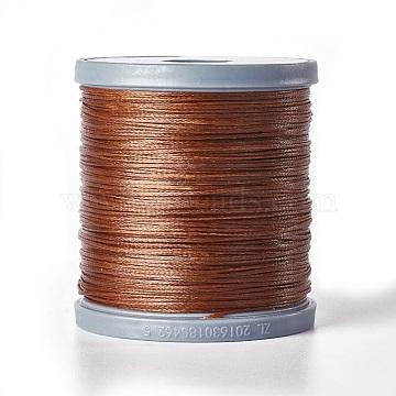 Waxed Polyester Cord, Flat, SaddleBrown, 0.8x0.2mm; 150m/Roll(YC-E002-0.8mm-B823)