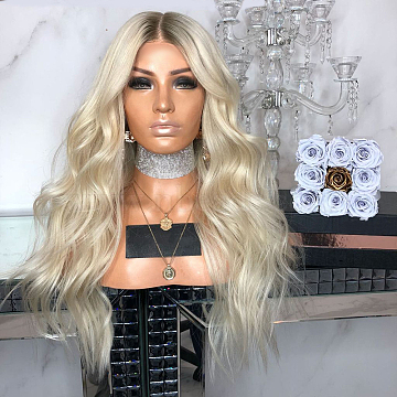 Long Wigs, Womens Sexy Ombre Party Curly Hair, Synthetic Wig, Heat Resistant High Temperature Fiber, Blonde, 25.6inches(65cm)(OHAR-L010-012)