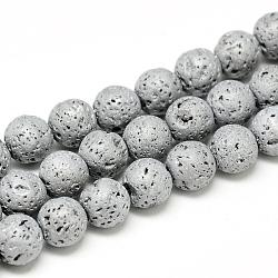 déposer des perles de lave naturelle, Style mat, arrondir, platinée, 8x8.5 mm, trou: 1 mm; environ 48 perle / brin, 15.3(X-G-T058-03I)