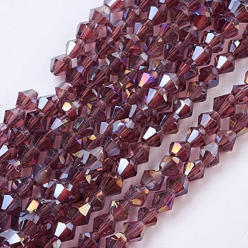 Glass Beads Strands, AB Color Plated, Faceted, Bicone, Plum, 4x4mm, Hole: 1mm; about 98~100pcs/strand(X-EGLA-S056-01)