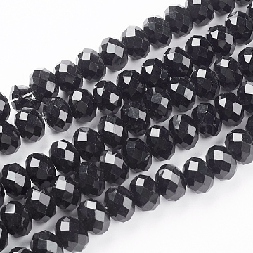 6mm Black Abacus Glass Beads