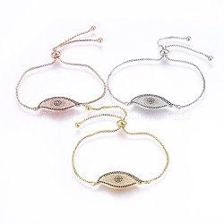 """Bracelets réglables en laiton à micro-pavé de zircons cubiques, Bracelets coulissants, oeil, noir et clair, couleur mixte, 10-5/8"""" (27cm); 1.2mm(BJEW-H583-13)"""