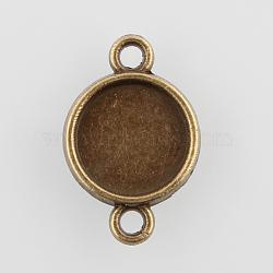 плоские круглые параметров соединителя сплав кабошон, чашки безель с краем, никель свободный, античная бронза, лоток: 10 мм; 19.5x13x2 мм, отверстия: 2 mm(X-PALLOY-N0087-01AB-NF)