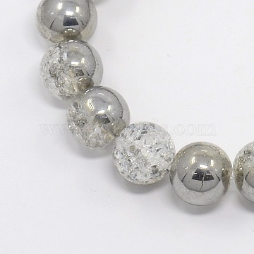 Round Half Electroplate Crackle Quartz Beads Strands, Synthetic, Silver, 10mm, Hole: 1mm; about 43pcs/strand, 15.3 inches(G-P060-10mm-04)