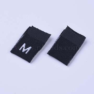 Clothing Size Labels(M), Garment Accessories, Size Tags, Black, 18x12.5x1mm, 200pcs/bag(FIND-WH0045-A02)