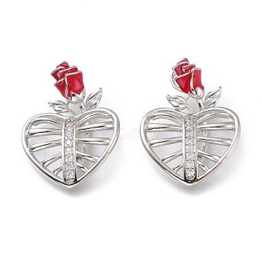Real Platinum Plated Red Heart Brass+Cubic Zirconia+Enamel Pendants