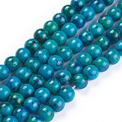 Natural Chrysocolla Beads Strands, Dyed, Round, 6mm, Hole: 1.5mm; about 44pcs/strand, 10inches(25.5cm)