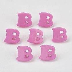 Boutons en acrylique, 1-trou, teint, lettre b, mediumorchid, 14x13x2mm, Trou: 3mm(X-BUTT-E029-10)