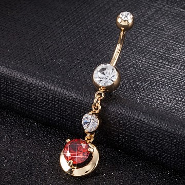 Piercing Jewelry, Eco-Friendly Brass Cubic Zirconia Navel Ring, Belly Rings, with Use Stainless Steel Findings, Real 18K Gold Plated, Round, Red, 48x11mm(AJEW-EE0003-27C)