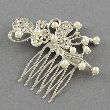 Wedding Bridal Decorative Hair Accessories, Butterfly Alloy Rhinestone Hair Combs, with Iron Finddings and ABS Plastic Beads, Crystal, 59x73mm(OHAR-R196-22)
