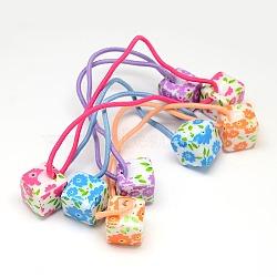 perle de cube de résine de support de queue de cheval d'accessoires de filles de filles avec la cravate de fleur de fibre élastique, couleur mélangée, 140x2 mm(OHAR-O001-17)