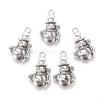Christmas Snowman Alloy Pendants, Tibetan Style, Cadmium Free & Nickel Free & Lead Free, Antique Silver, 23x14x4mm, Hole: 2mm(X-TIBEP-GC113-AS-NR)