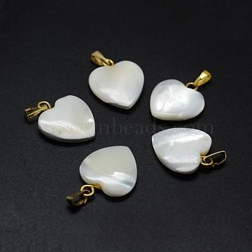 Shell Pendants, with Brass Findings, Heart, Golden, 17~19x14~15x3~5mm, Hole: 2x5mm(X-SSHEL-E564-20A-G)