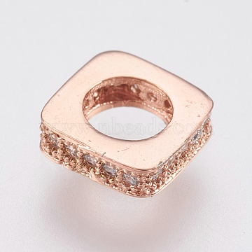 Brass Micro Pave Cubic Zirconia European Beads, Large Hole Beads, Lead Free & Cadmium Free, Square, Rose Gold, 8x8x2.5mm, Hole: 4.5mm(ZIRC-F083-090RG-RS)
