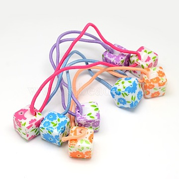 Girls Hair Accessories Ponytail Holder Resin Cube Bead with Flower Elastic Fiber Hair Ties, Mixed Color, 140x2mm(OHAR-O001-17)