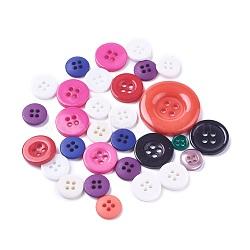 Boutons en résine, 4-trou, plat rond, couleur mixte, 7.5~27.5x1.5mm, Trou: 1.4~2mm(BUTT-MSMC003-04)