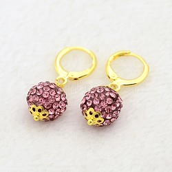 Pendantes rondes résine de balle boucles d'oreilles strass, avec boucles d'oreilles créoles en laiton doré, rose, 30mm, pin: 1 mm(EJEW-J080-22G)