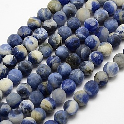 """Chapelets de perles en sodalite naturelle, mat, rond, teint, 4mm, trou: 0.8mm; environ 90 pcs/chapelet, 14.1""""(G-J364-01-4mm)"""