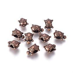Perles européennes en alliage de style tibétain, Sans cadmium & sans nickel & sans plomb, tortue, cuivre rouge, 14.5x10x8mm, Trou: 5mm(X-MPDL-1922-R-NR)