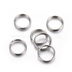 304 Stainless Steel Split Rings, Stainless Steel Color, 7mm, 8mm, 1mm(X-STAS-P223-22P-09)