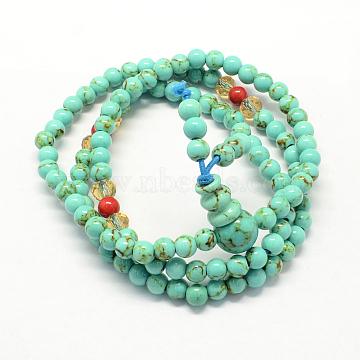 3-Loop Wrap Buddha Meditation Yellow Jade Beaded Bracelets, Buddhist Necklaces, Aquamarine, 520x5mm; 108pcs/strand; about 20.4inches(BJEW-R040-5mm-08)
