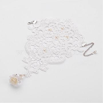 Gothic Style Vintage Rose Lace Bracelet with Ring Wristband Wristlet, Platinum, White, 200mm; 17mm(BJEW-JL080-01)