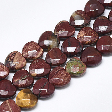 Natural Red Rainbow Jasper Beads Strands, Faceted, Heart, 10x10x5mm, Hole: 1.2mm, about 20pcs/strand, 7.4 inches(X-G-S357-E01-02)
