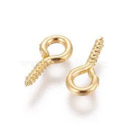 Vis oeil broche cheville bails, pour la moitié de perles percées, fer, upeye, or, longueur d'environ 10 mm ,  largeur de 5 mm, épaisseur de 1.2mm, Trou: 2.8mm(E563Y-G)