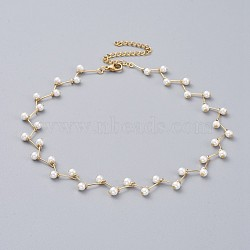 Glass Pearl Beaded Choker Necklaces, with Brass Pins and 304 Stainless Steel Findings, White, Golden, 12.7 inches(32.5cm)(NJEW-JN02530)