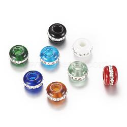 chalumeau perles européennes, grandes perles de trou, avec des strass, rondelle, couleur mélangée, 13~14x9 mm, trou: 4~4.5 mm(X-LPDL-S004-M)