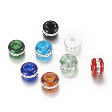 Lampwork European Beads, Large Hole Beads, with Rhinestones, Rondelle, Mixed Color, 13~14x9mm, Hole: 4~4.5mm(X-LPDL-S004-M)