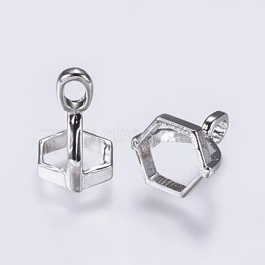Brass Pendant Hexagon Bead Cap Bails(KK-K205-01P)-2