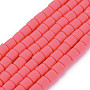 Deep Pink Column Polymer Clay Beads(X-CLAY-ZX006-01F)