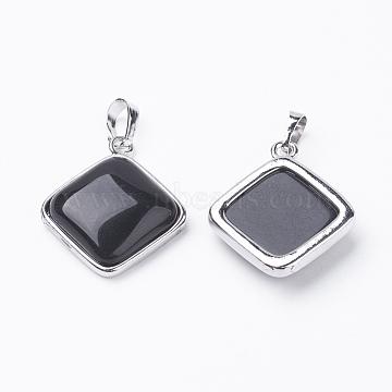 Platinum Rhombus Black Agate Pendants